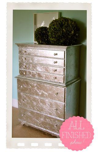 My Diy Silver Leaf Dresser Project Part 2